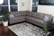 Oliver Smith - Large Brownish Grey Linen Cloth Modern Contemporary Upholstered Quality Sectional Left or Right Adjustable Sectional 270cm x 210cm x 90cm