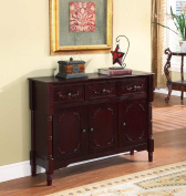 King's Brand R1021 Wood Console Sideboard Table with Drawers and Storage, Cherry Finish