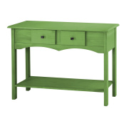 Manhattan Comfort Jay Collection Modern Wooden Entryway Table with Two Drawers and One Shelf, Green