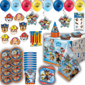 Paw Patrol Party for 8 - Plates, Cups, Napkins, Birthday Hats, Balloons, Masks, Loot Bags, Hanging Decorations, Tattoos, Table Cover, Party Blowouts - Paw Patrol Party Decorations and Supplies