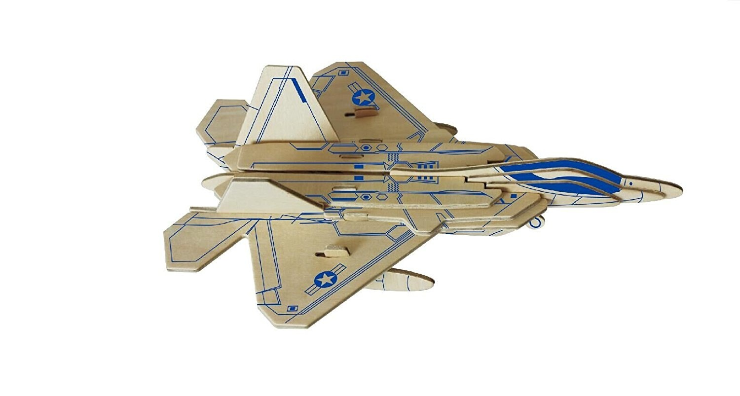 Dlong 3D DIY Assembly Construction Jigsaw Puzzle Handmade Educational  Woodcraft Set F22 Raptor Stealth Fighter Plane Wood Model Kit Toy for Adult  and