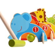 Toyzoo Wooden Cartoon Animals Croquet Set Educational Toys Outdoor Games for Kids