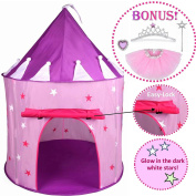 5pc Princess Tent for Girls Play Tent Princess Castle w Glow in the Dark Stars. Bonus Princess Dress up Tutu Costume set! Tent for Kids Children Princess Pink Play-house Pop Up Tent, by Hide-n-Side