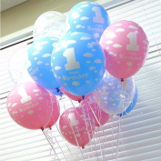 20Pcs/Lot Balloons for Baby 1st Birthday Celebration Printed Number 1 Children Birthday Party Decoration Toys Pink