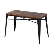 iKayaa Antique Rectangular Kitchen Dining Table W/ Metal Legs Pinewood Top Dinette Table Furniture
