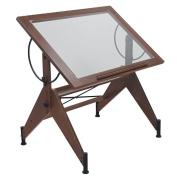 Offex Home Aries Glass Top Drafting Table Dark Walnut / Black