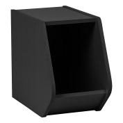 IRIS TACHI Narrow Modular Wood Stacking Open Storage Box, Black