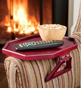 Wooden Clip-On Armchair Table with Protective Lip, in Cherry by Jumbl