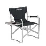 KingCamp Director Chair Folding Aluminium Padding Portable Heavy Duty Comfort Sturdy Reclining with Armrest Side Table and Cup Holder for Camping