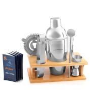Cocktail Shaker Drink Mixer Set - Bar / Bartender Kit - Wooden Base, Martini Shaker in Gift Box & Cocktail Recipes by ShoppingHandicraft