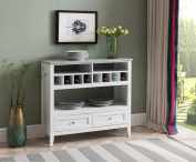 Kings Brand Furniture White With Marble Finish Buffet Display Console Table With Wine Storage
