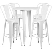 Flash Furniture 80cm Round White Metal Indoor-Outdoor Bar Table Set with 4 Cafe Stools