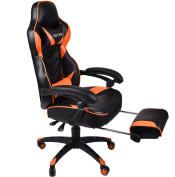 Ergonomic Computer Gaming Chair, Large Size PU Leather High Back Office Racing Chairs with Widen Thicken Seat and Retractable Footrest and Lumbar Support