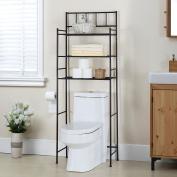 Finnhomy 3 Shelf Bathroom Space Saver Over the Toilet Rack Bathroom Corner Stand Storage Organiser Accessories Bathroom Cabinet Tower Shelf with Bronze Finish 60cm W x 27cm D x 160cm H