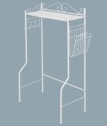BestValue Go Freestanding Bathroom Space Saver Shelf Storage Organiser Rack with Magazine Basket, White