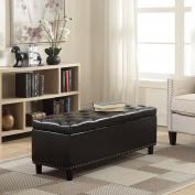Belleze 120cm Rectangular Faux Leather Storage Ottoman Bench Footrest, Large, Brown