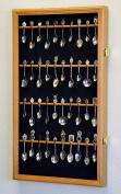 40 Larger Spoon Display Case Cabinet Wall Mount Rack Holder w/98% UV Protection Lockable, Oak