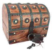 WellPackBox Wooden Pirate Treasure Chest Box With Antique Style Lock And Skeleton Key