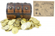 WellPackBox Wood Toy Large Treasure Chest Box 144 Plastic Coins Plus Treasure Map