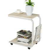 Soges Side Table Moving Unite Laptop Desk Small Computer Table with Caster, White Maple KH02-MP