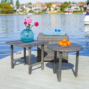 Lakeport Patio Furniture Grey 3 Piece Outdoor Wicker Side Table Set