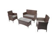 Baner Garden Outdoor Furniture Complete Patio 4Piece Cushion Pe Wicker Rattan Garden Set, (N68-CH), Chocolate