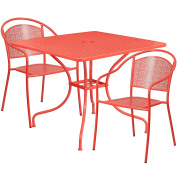 Flash Furniture 90cm Square Coral Indoor-Outdoor Steel Patio Table Set with 2 Round Back Chairs