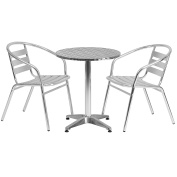 Flash Furniture 60cm Round Aluminium Indoor-Outdoor Table Set with 2 Slat Back Chairs