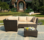 W Unlimited Infinity Collection Outdoor Garden Patio Sectional Furniture 5PC Set All Weather Brown Wicker, Dark Brown & Beige