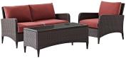 Crosley Furniture Kiawah 3-Piece Outdoor Wicker Conversation Set with Sangria Cushions - Brown