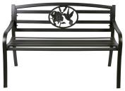 Terra Verde Home Steel Park Bench with Hummingbird Design, Black