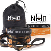 HangTight Hammock Straps - Quick & Easy Setup For All Hammocks. Extra Strong, Lightweight & Tree Friendly. No Stretch Polyester. 6.1m Long & 32 Adjustable Loops Total