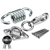 Hammock Chair Hanging Kit, Load Capacity 270kg, Stainless Steel Hammock Spring, Swivel Hook, Ceiling Mount Set for Punching Bag Hammock Swing Chair Indoor Outdoor Relaxation