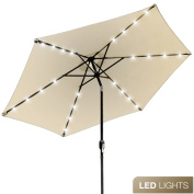 Sorbus LED Outdoor Umbrella, 3m Patio Umbrella LED Solar Power, with Tilt Adjustment and Crank Lift System, Perfect for Backyard, Patio, Deck, Poolside, and more