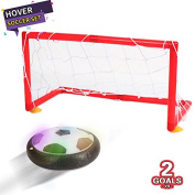 Kids Toys Air Power Soccer Football Goal Set Disc Training Ball Hover Ball with 2 Gates for Kid Boys Girls Gifts Indoor Outdoor Game with LED Lights