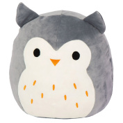 Kellytoy Squishmallow 20cm Hoot the Grey Owl Super Soft Plush Toy Pillow Pet