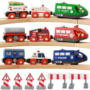 On Track USA Battery Operated Action Rescue Trains, Includes 3 Motorised Engines and 6 Cars, Compatible For Wooden Tracks From All Major Brands