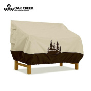 Oak Creek Premium Waterproof Outdoor Bench Cover with Padded Handles, Air Vents, Click-Close Straps, and Elastic Hem Toggle Cord | Made of Heavy Duty 600D Oxford Fabric with PVC Coating