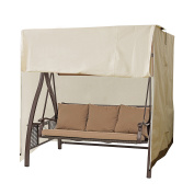 CASUN GARDEN Outdoor 2-Seater Hammock Swing Glider Canopy Cover Beige, All Weather Protection, Water Resistant, 200cm L x 150cm W x 180cm H