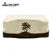 Oak Creek Premium Waterproof Outdoor Deep Love Seat Cover with Padded Handles, Air Vents, Click-Close Straps, and Elastic Hem Toggle Cord | Made of Heavy Duty 600D Oxford Fabric with PVC Coating