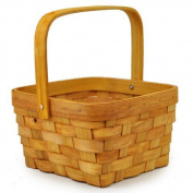 The Lucky Clover Trading Woodchip Swing Square Handle Basket, Small, Honey