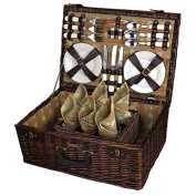 Willow Picnic Basket w Lined Interior and Leatherette Straps