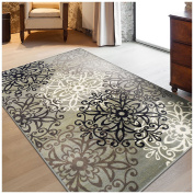 Superior Elegant Leigh Collection Area Rug, 8mm Pile Height with Jute Backing, Chic Contemporary Floral Medallion Pattern, Anti-Static, Water-Repellent Rugs, 0.6m x 0.9m Rug, Blue