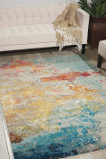 Nourison Celestial (CES02) Modern Abstract Area Rug, 1.5m x 2.1m, Multicolor Grey