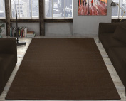 Ottomanson Jardin Collection Natural Solid Design Indoor/Outdoor Jute Backing Area Rv Patio Mat Rug, Brown, 1.5m x 2.1m