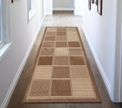 Ottomanson Jardin Collection Contemporary Boxes Design Indoor/Outdoor Jute Backing Runner Rug, Brown, 0.6m x 2.1m