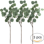 Supla 3 Pcs Artificial Silver Dollar Eucalyptus Leaf Spray in Green 60cm Tall Artificial Greenery Holiday Greens Christmas greenery