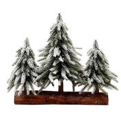 3 Small Christmas Tree with Wood Stand Flocked Snow Christmas Decoration Tabletop centrepiece