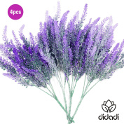 DIDADI 4 Pcs Artificial Flowers Flocked Lavender Bouquet Romantic Fake Lavender Bunch In Purple Artificial Plant For Home Wedding Garden Decor