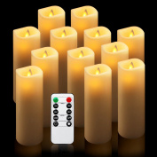 "Flameless Candles, Battery Candles Real Wax Pillar Candles Set of 12(D2.5.1cm x H6"") With Remote Timer by comenzar"
